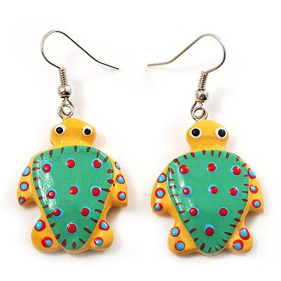 Funky Wooden Turtle Drop Earrings (Yellow & Light Green) - 4.5cm Length