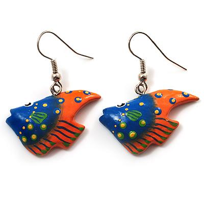 Funky Multicoloured Wood Fish Drop Earrings (Blue & Orange) - 3.5cm Length - main view