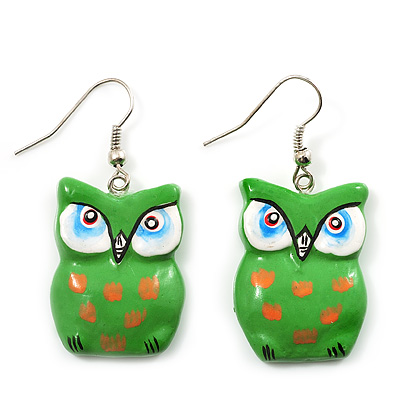 Green Wood Owl Drop Earrings - 4.5cm Length - main view