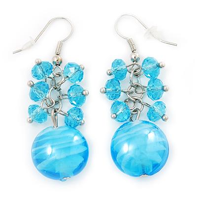 Light Blue Glass Bead Drop Earrings (Silver Tone Metal) - 4.5cm Length - main view