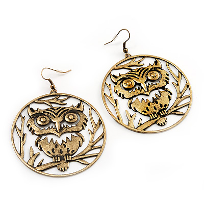 Bronze Tone 'Owl' Hoop Earrings -7.5cm Drop - main view