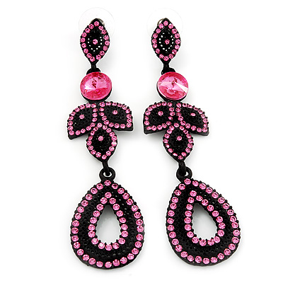Pink Swarovski Crystal Teardrop-Shaped Long Earrings (Black Tone Metal) - 8.5cm Length