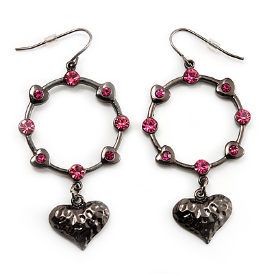 Pink Crystal Hoop With Heart Drop Earrings (Gun Metal Finish) - 6cm Length