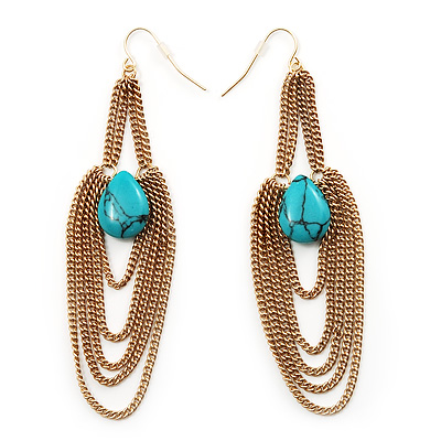 Gold Plated Turquoise Style Stone Chain Drop Earrings - 10cm Length - main view