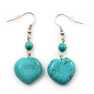 Romantic Turquoise Stone Heart Drop Earrings (Rhodium Plated Metal) - 4.5cm Length