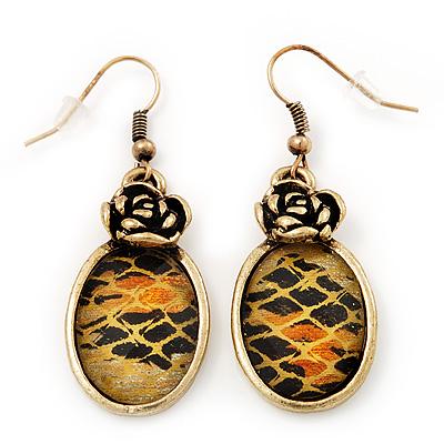 Burn Gold Animal Print Floral Drop Earrings - 4.5cm Length