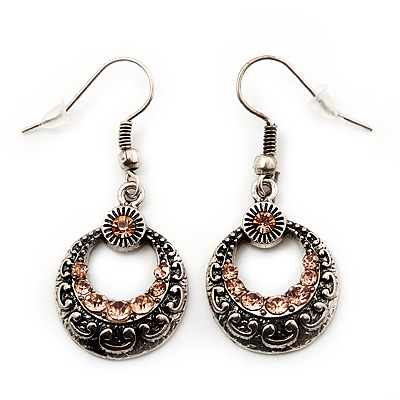 Vintage Hammered Diamante Round Drop Earrings (Burn Silver Metal & Champagne Crystals) - 4cm Length - main view