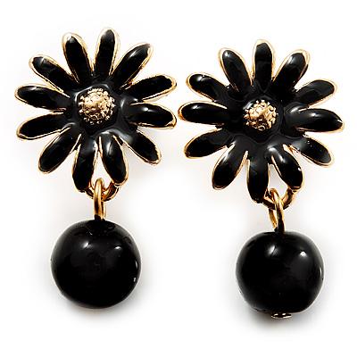 Small Black Enamel Flower Stud Earrings (Gold Plated Finish) - 2.5cm Length - main view