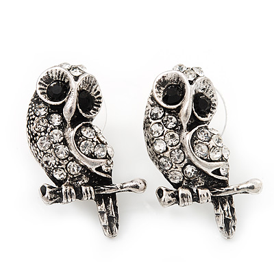 Cute Crystal Owl Stud Earrings (Antique Silver Metal) - 2.5cm Length