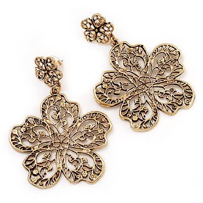 Large Burn Gold Filigree Flower Drop Earrings - 7.5cm Length