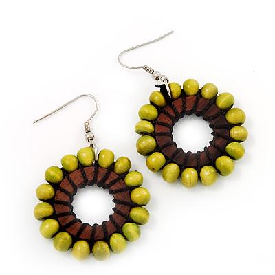 Lime Green Wood Bead Hoop Drop Earrings (Silver Tone Metal) - 5.5cm Drop