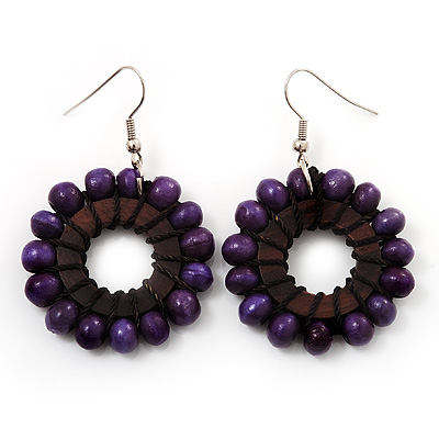Purple Wood Bead Hoop Drop Earrings (Silver Tone Metal) - 5.5cm Drop - main view