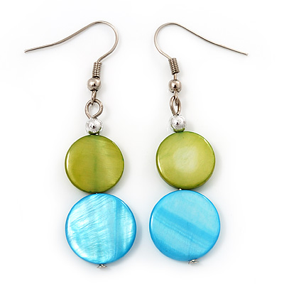 Round Double Shell Drop Earrings (lime green/aqua blue) - 7.5cm Length
