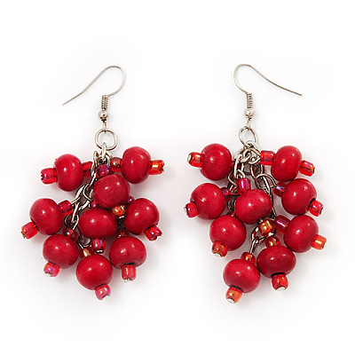 Wood Red Cluster Drop Earrings (Silver Tone Metal) - 6.5cm Length