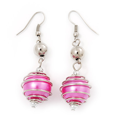 Silver Tone Fuchsia Pink Faux Pearl Drop Earrings - 5cm Drop - main view