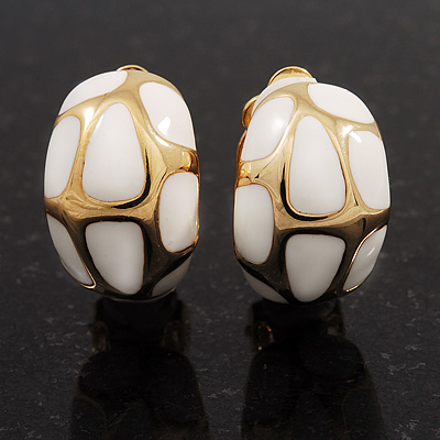 Small C-Shape White Enamel Clip On Earrings In Gold Plated Metal - 18mm Length