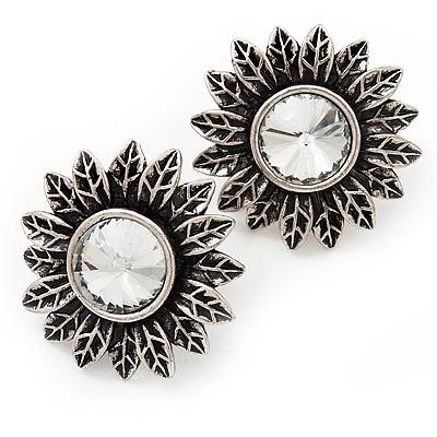 Burn Silver 'Sunflower' Diamante Stud Earrings - 3cm Diameter