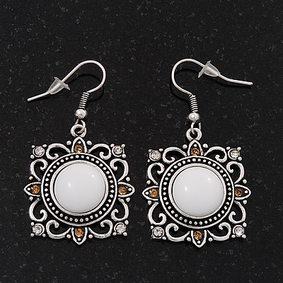 Burn Silver Square Filigree Drop Earrings - 4.5cm Length