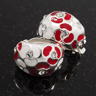 C-Shape Red/White Floral Enamel Crystal Clip On Earrings In Rhodium Plated Metal - 2cm Length - main view