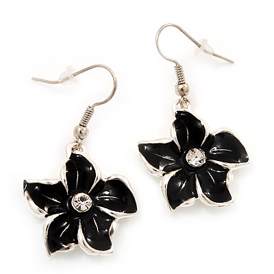 Black Enamel Daisy Drop Earrings (Silver Tone Metal) - 4cm Length