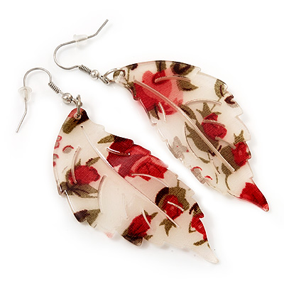 Floral Acrylic 'Leaf' Drop Earrings (White, Red & Green) - 8cm Drop - main view