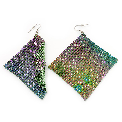 Disco Mesh 'Chameleon' Drop Earrings (Green To Grey Colour) -10cm Length