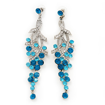 Long Swarovski Turquoise Crystal Chandelier Earrings ( Silver Plated Metal) - 11.5cm Drop