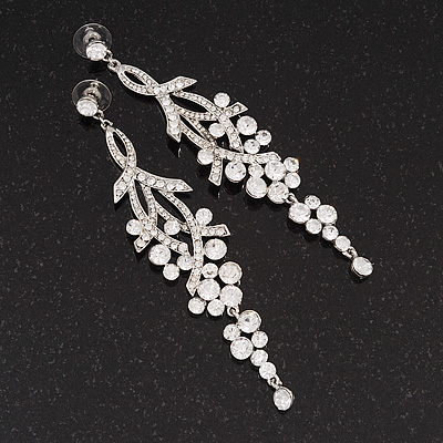Long Swarovski Clear Crystal Chandelier Earrings ( Silver Plated Metal) - 11.5cm Drop - main view