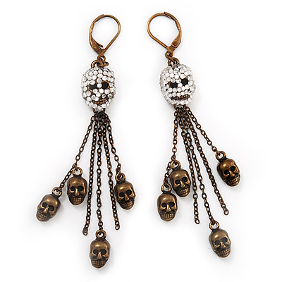 Bronze Tone Diamante Skull Dangle Earrings - 8.5cm Drop - main view