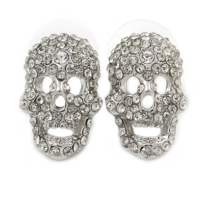 Dazzling Crystal Skull Stud Earrings In Silver Plating - 2cm Length