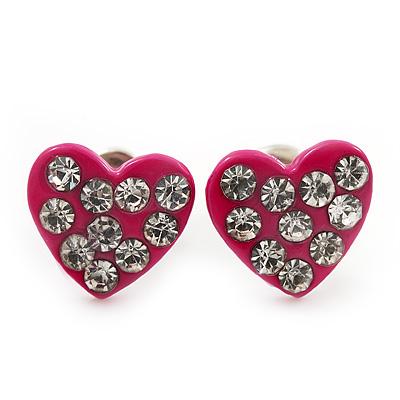 Tiny Deep Pink Crystal Enamel 'Heart' Stud Earrings In Silver Plated Metal - 10mm Diameter