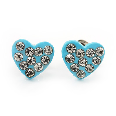 Tiny Light Blue Crystal Enamel 'Heart' Stud Earrings In Silver Plated Metal - 10mm Diameter