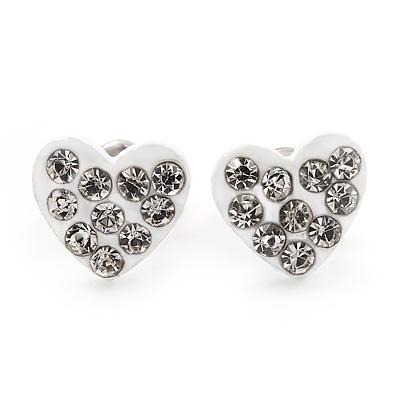 Tiny White Crystal Enamel 'Heart' Stud Earrings In Silver Plated Metal - 10mm Diameter