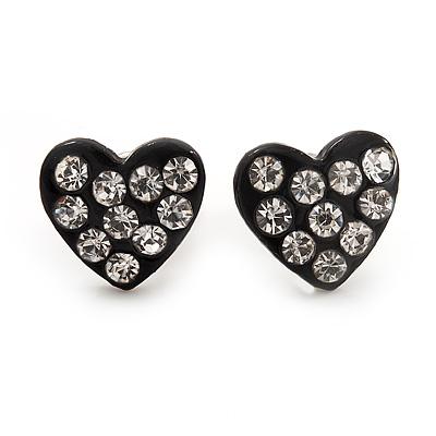 Tiny Black Crystal Enamel 'Heart' Stud Earrings In Silver Plated Metal - 10mm Diameter