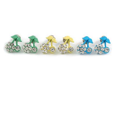 Tiny Yellow/ Green/ Blue Enamel Diamante Sweet 'Cherry' Stud Earring Set In Silver Tone Metal - 10mm D