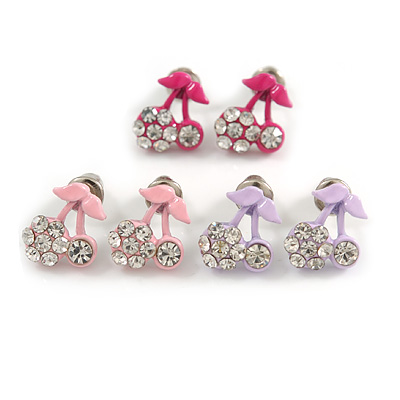 Tiny Light Pink/ Deep Pink/ Lavender Enamel Diamante Sweet 'Cherry' Stud Earring Set In Silver Tone Metal - 10mm D