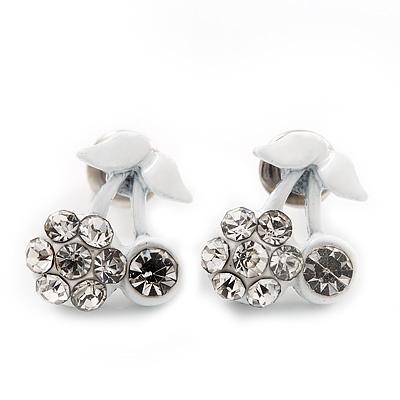 Tiny White Enamel Diamante Sweet 'Cherry' Stud Earrings In Silver Tone Metal - 10mm Diameter