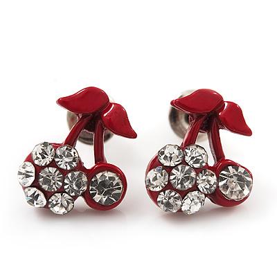 Tiny Red Enamel Diamante Sweet 'Cherry' Stud Earrings In Silver Tone Metal - 10mm Diameter