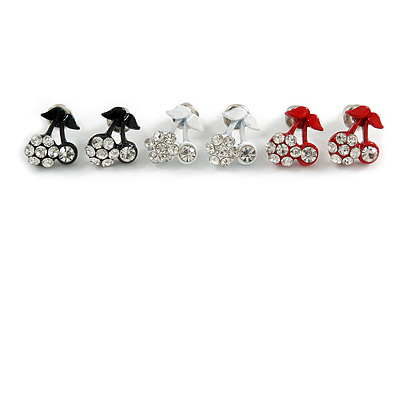 Tiny Black/ White/ Red Enamel Diamante Sweet 'Cherry' Stud Earring Set In Silver Tone Metal - 10mm D