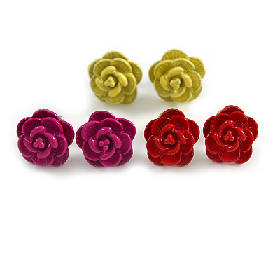 Small Yellow/ Deep Pink/ Red Rose Stud Earring Set In Silver Tone Metal - 10mm D