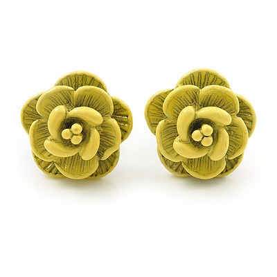 Tiny Yellow 'Rose' Stud Earrings In Silver Tone Metal - 10mm Diameter