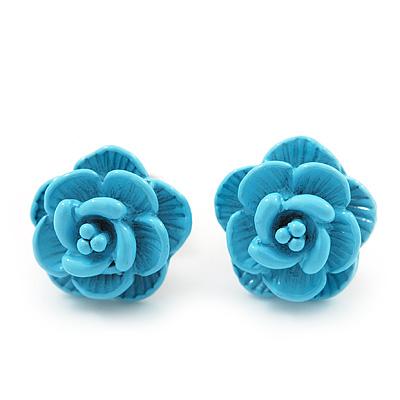 Tiny Light Blue 'Rose' Stud Earrings In Silver Tone Metal - 10mm Diameter