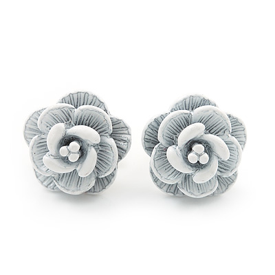 Tiny White 'Rose' Stud Earrings In Silver Tone Metal - 10mm Diameter - main view