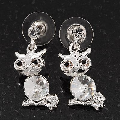 Small Clear Crystal Cute 'Owl' Stud Drop Earrings In Rhodium Plated Metal - 3cm Length - main view