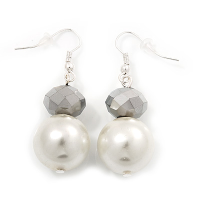 White Bead Drop Earrings In Silver Plated Metal - 4.5cm Length