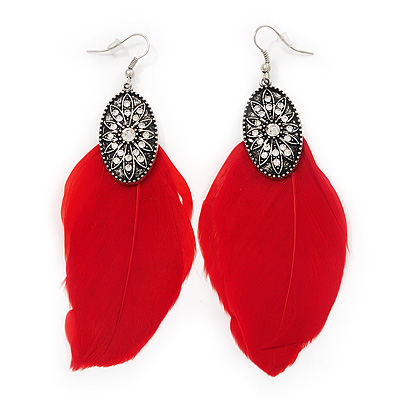 Vintage Diamante Red Feather Drop Earrings In Burn Silver Metal - 13cm Length - main view