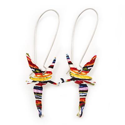 Cute Multicoloured Enamel 'Fairy' Drop Earrings In Rhodium Plated Metal - 6cm Length - main view