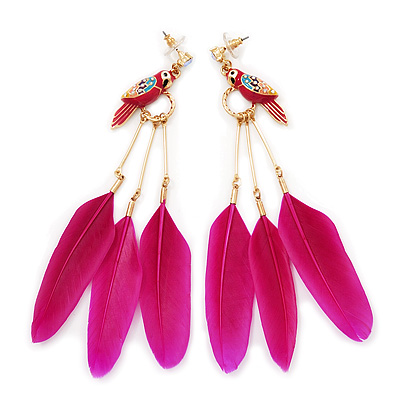Funky Long Magenta 'Parrot' Feather Earrings In Gold Plating - 13cm Length