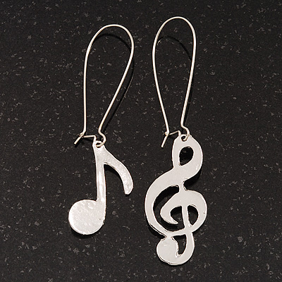 Textured 'Musical Notes' Drop Earrings (Silver Tone Metal) - 7cm Length