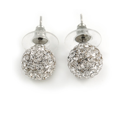 Clear Crystal Ball Stud Earrings In Silver Plated Finish - 9mm Diameter - main view
